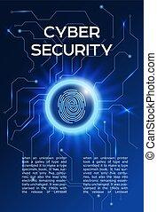 balayage, concept, poster., information, intimité, idée, cyber, incandescent, empreinte doigt, sécurité, circle.