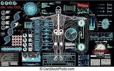 balayage, cyborg, ui., human-robot, hud, concept
