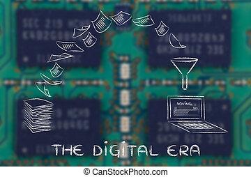 balayage, documents, tourner, era:, papier, numérique, données