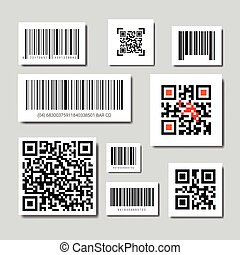 balayage, ensemble, barre, icônes, collection, qr, codes
