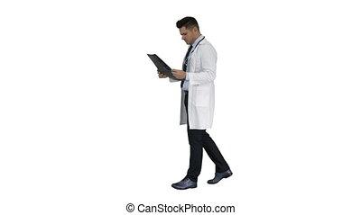 balayage, examiner, maladie, arrière-plan., neurosurgeon, mri, progrès, blanc, observer