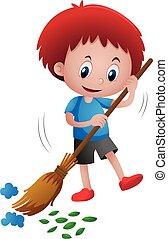 balayage, garçon, feuilles, déchets ménagers