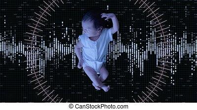 balayage, nouveau né, girl., futursitic, bébé, biometric