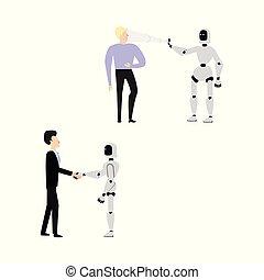 balayage, poignée main, cyborg, plat, vecteur, humain