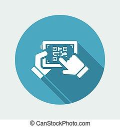 balayage, qr, code, à, tablette