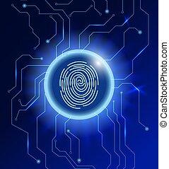 balayage, résumé, cyber, arrière-plan., incandescent, empreinte doigt, cercle, concept., technologie, sécurité
