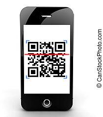 balayage, smartphone, code