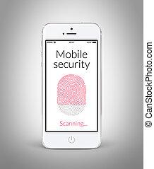 balayage, smartphone, mobile, écran, moderne, directement, empreinte doigt, devant, blanc, sécurité, vue