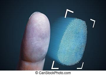 balayage, technologie, biome, finger., empreinte doigt, sécurité
