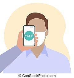 balayage, température, gens, santé, distance, téléphone