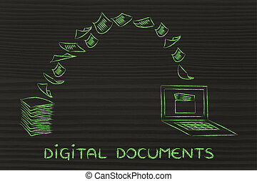 balayage, tourner, il, documents:, papier, numérique, données