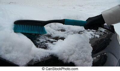balayage, voiture, loin, neige