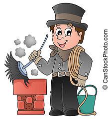 balayeur, cheminée, heureux