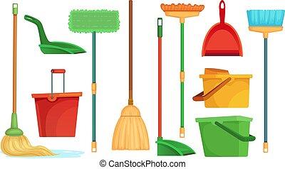 balayeur, ensemble, mop., balai, isolé, illustration, balais éponge, balais, ménage, vecteur, ramasse-poussière, maison, dessin animé, nettoyage, nettoyage