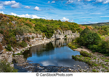 balazuc, ardeche, district, paysage, vue, france