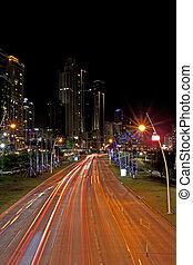 Balboa Avenue Panama City - Night traffic on Balboa Avenue, ...