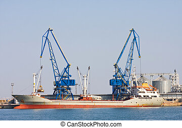 balchik, bateau, port, récipient, bulgarie