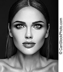 balck and white photo of sensual glamour portrait of beautiful woman model lady with fresh daily makeup and  clean healthy skin face