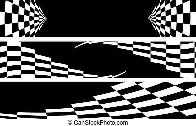 balck and white racing banner