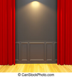 Balck vintage empty room with red curtain