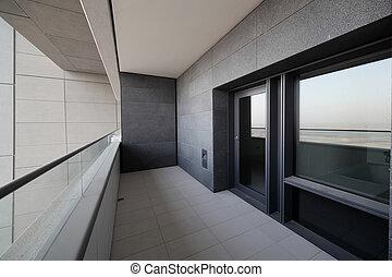 balcon, dans, dubai, gratte-ciel