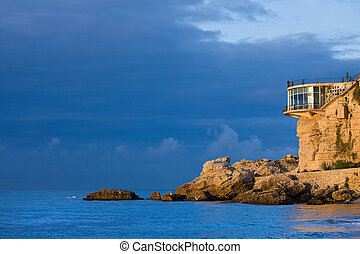 Balcon de Europa (Balcony of Europe) at sunrise on the Mediterranean Sea in Nerja, Costa del Sol, southern Andalusia, Spain
