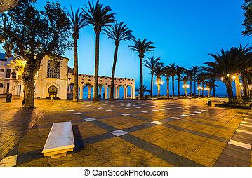 Balcon de Europa viewpoint in Nerja, Malaga, Spain at twilight