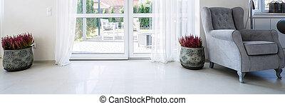 balcon, fenêtre, dans, salle de séjour