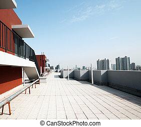balcon, plancher, béton, barrière, bleu, sky., extérieur,...
