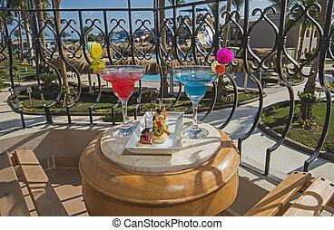 balcon, salle, cocktail, boissons, hôtel, luxe