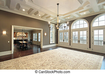 balcon, salle, famille, vue
