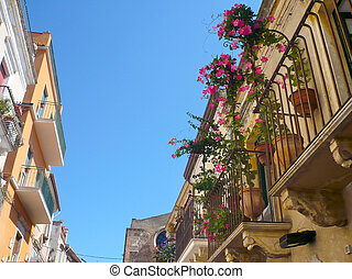 balcon, (sicily), fleuri, taormina