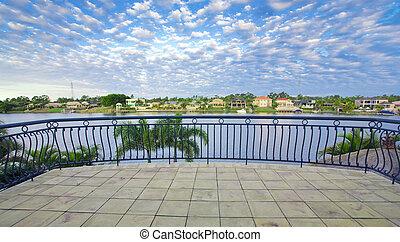 balcon, vues, depuis, front mer, manoir, négligence, les,...