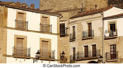 balconi, a, trujillo, città, spagna