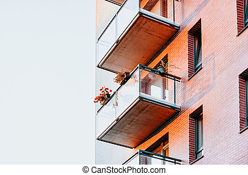 Balconies of Apartment house residential building complex real estate