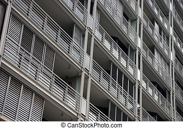 Balconies on a residential building - Perspective of...