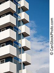 balcons, bâtiment moderne