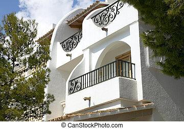 balcons, de, méditerranéen, résidentiel, bâtiment