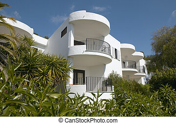 balcons, de, résidentiel, bâtiment, à, méditerranéen, place.