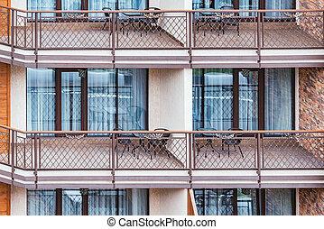 balcons, jour, fenetres, maison mitoyenne, nouveau, time.