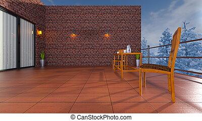 Balcony - 3D CG rendering of the balcony.