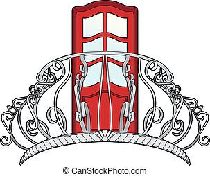 Balcony and red door - Vector illustration of a balcony and...