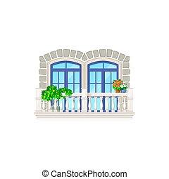 Balcony architecture, vintage house building