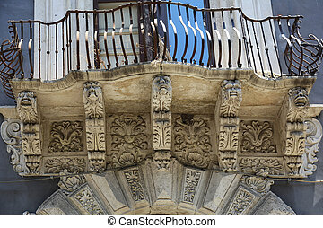 Balcony Catania - a typical balkony in Catania, Sicily Italy
