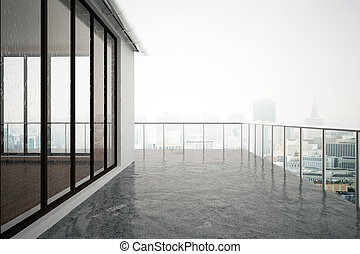 Balcony closeup - Close up of concrete balcony in modern...
