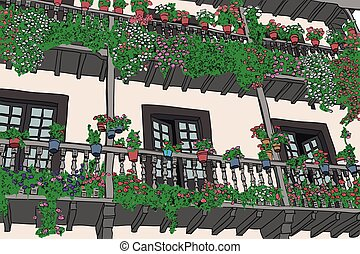 balcony with flowers in a village in northern Spain