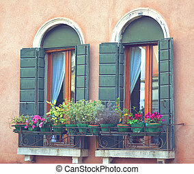 Balcony filled with various beautif
