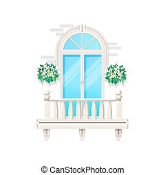 Balcony, house window and vintage facade banister