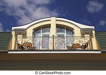 Balcony in attic floor of luxury mansion.