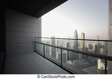 balcony in dubai skyscraper - high end balcony in downtown...
